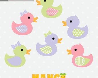 Rubber Ducks Monogram, Rubber Ducks Clipart, Rubber Ducks cutting file, Duckie SVG, Duckling SVG, dxf, downloadable.