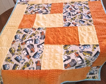 Baby Boy Quilt with Construction Trucks