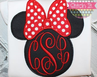 Girls Monogrammed Minnie Mouse silhouette appliqued shirt - Disney