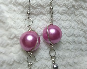 Pink Faux Pearl Earrings