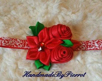 Red headband headwrap girl any occasion beautiful red flower cintillo rojo tiara banda de pelo