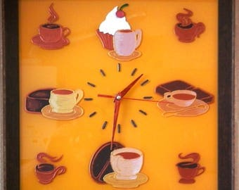"Wall clock ""tea and coffee""."
