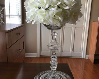White Roses Centerpiece - Wedding Centerpiece - Party Decorations - Birthday Decorations - Anniversary Decorations