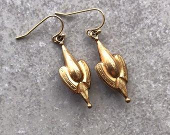Victorian Gold Tone Drop Earrings