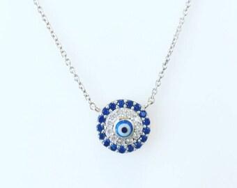 Blue evil eyes necklace