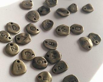 Antique bronze plain alphabet letter charms tiny pendants A-Z 8mm