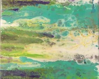 """Oil Stain II - 9"""" x 10"""" Acrylic Floww"""