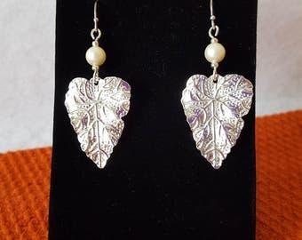 Pearl / Silver Leaf Dangle Earrings / Handmade / Hand Crafted / Artist