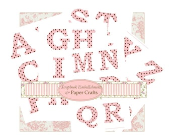 Instant Download Polka Dots Extra Large Letters  Full Alphabet Embelishments