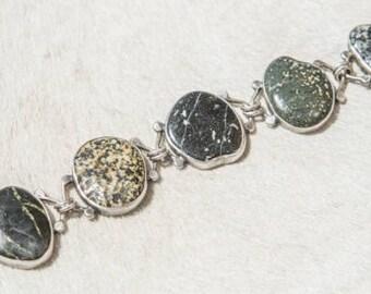 River Stone Silver Bracelet