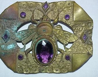 Vintage 1890's Sash Pin Brooch, Dunn Brothers, Brass, Purple glass beading, Bumblebee
