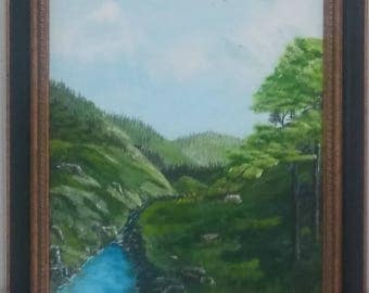 Mountain Stream   Acrylic painting.Framed