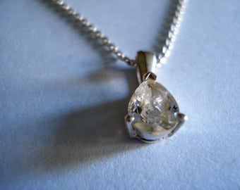 Teardrop Crystal Pendant Necklace