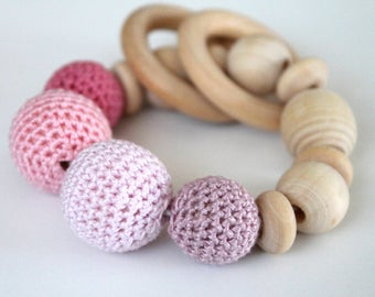 Baby teether with rings crochet wooden teething toy