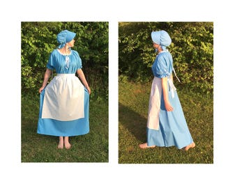 Complete Outfit - Choose Size Womens Pioneer Trek Colonial Frontier Prairie Pilgrims Renaissance Reenactment Civil War Dress Costume Adult