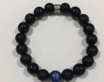 Men's Black beaded with Kyanite Gemstone Bracelet