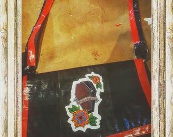 Handmade duct tape messenger bag with artwork