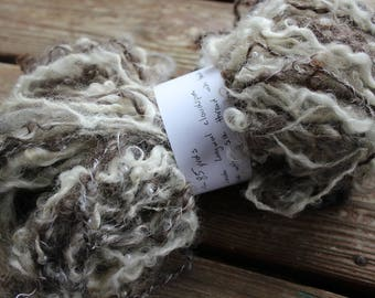 85 yards of Lincoln Longwool cloudspun - 2ply with silk thread and beads