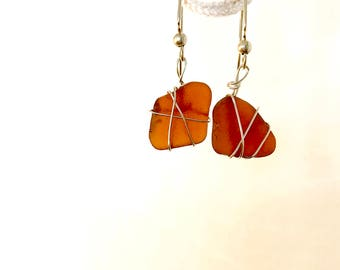 Brown Beach Glass Wire Wrapped Dangle