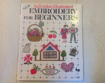 Embroidery book, Embroidery for beginners, sewing book, sewing for beginners, cross-stitch book, craft book, vintage book, vintage craft