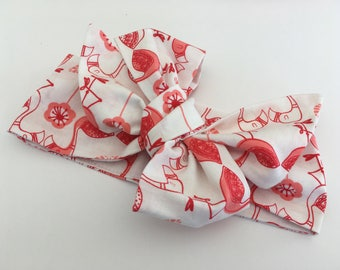 Headband/turban/loop in cotton for baby, child or adult. Pink flamingos print
