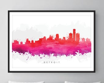 Detroit Skyline, Detroit Michigan Cityscape Art Print, Wall Art, Watercolor, Watercolour Art Decor