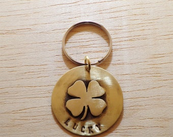LUCKY | Handmade, Custom, Pet ID Tag,  Personalized, Hand-stamped, Shamrock, Clover, Pet ID Tag Name, Durable, unique, Dog Tag
