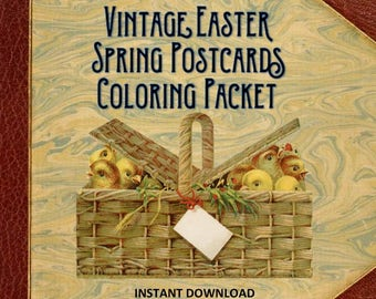 Vintage Easter Spring Postcards Coloring Packet