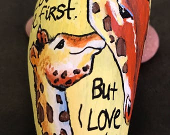 Mama and Baby Giraffes --I Love You Most-- Mother's Day-- Painted Rock, Paperweight & Collectible