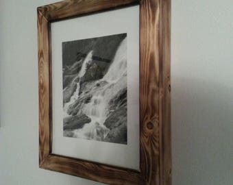 Pine concealment picture frame distressed