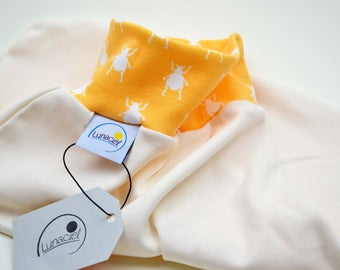 Zips from organic cotton sleeping bag, swaddling, baby, child, cradle, bed, stroller, beige crème beetles, girl, boy, orange yellow,