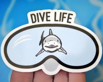 Dive Life Sticker - Shark Ocean Stickers - Diving Stickers - Scuba Stickers - Snorkeling Stickers - Beach Stickers - Shark Stickers - S59
