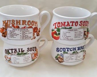 Vintage Soup Recipe Mugs x 4 1970's