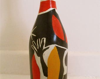 Hand painted wine bottle original modern art by Alfred Halliday Art.