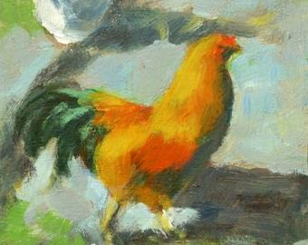 "Original paintings, ""Hahn"", Acryl auf MDF-Platte, 15 x 15 cm, Daily Painting"