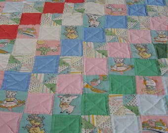 Hand-quilted Patchwork Baby Quilt