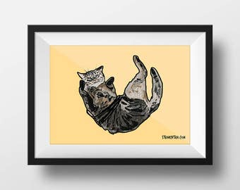 "Original digital art print: ""Jam On Cat"" (A3 framed)"
