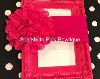 Pink Eyelet Flower Nylon Headband