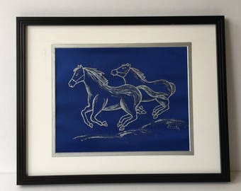 Original Acrylic Painting on Royal Blue Satin Fabric, Running Horses, Silver