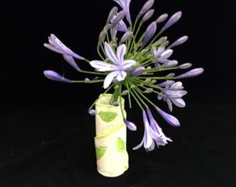 Small Ceramic Wrapped Bud Vase - Ceramic Bud Vase - Tiny Ceramic Bud Vase