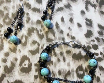Blue and Black Punk Themed Chain Bracelet and Earring Set