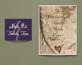 Handcrafted, wood burned custom Birch Bark:   Birch Wood Beauties - Style #3 - Family Tree