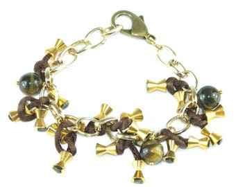 Chain with charms bracelet. Chain bracelet with Tiger eye and Brown silk lace