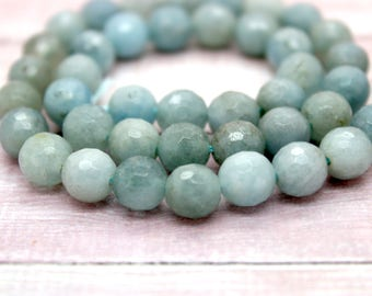 Aquamarine Faceted Round Natural Gemstone Beads (6mm 8mm 10mm 12mm)