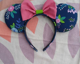 Navy Floral Ears
