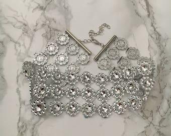 Hannah Crystal Flower Choker Necklace