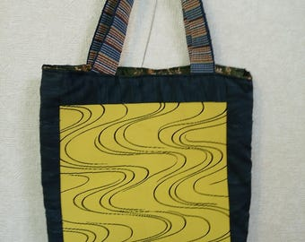 Wave Pattern Obi Tote Bag