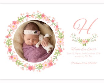 Floral Wreath Personalised BABY ANNOUNCEMENT Card Printable