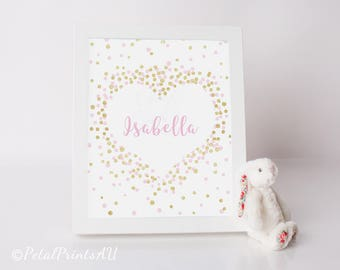 Pink and Gold Glitter Heart Custom Name Print (custom colours available)
