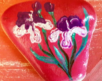 Artisan Painted Rock Irises from the ROX Collection